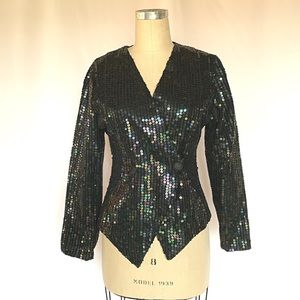 Vintage Sequin Blazer Double Breasted Front